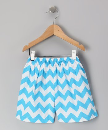 Turquoise Zigzag Shorts - Infant & Toddler