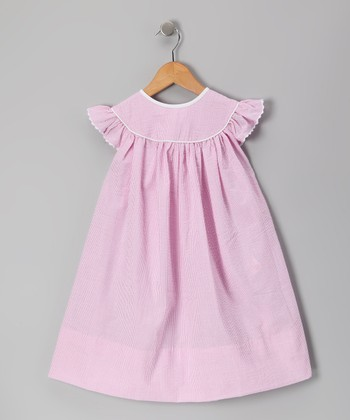 Pink Seersucker Angel-Sleeve Dress - Infant, Toddler & Girls