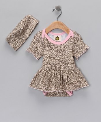 Cheetah Chic Organic Skirt Bodysuit & Beanie - Infant