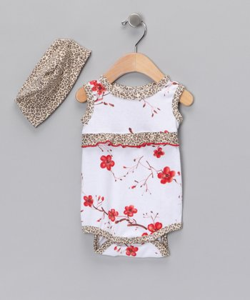 White Cherry Blossom Organic Bodysuit & Beanie - Infant