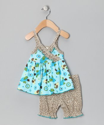 Blue Birdy Top & Bloomers - Infant