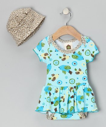 Blue Birdy Skirted Bodysuit & Beanie - Infant