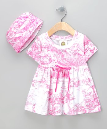 Hot Pink Toile Dolly Organic Dress & Beanie - Infant