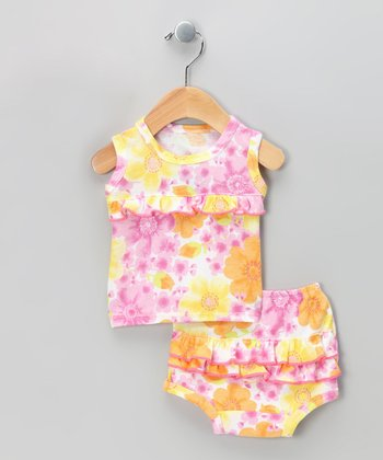 Pink Country Flowers Organic Tank & Diaper Cover - Infant