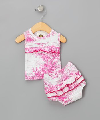 Hot Pink Toile Organic Tank & Diaper Cover - Infant