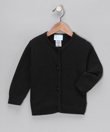 Black Pearl-Button Cardigan - Toddler