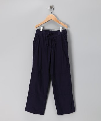 Navy Microfiber Pants - Boys