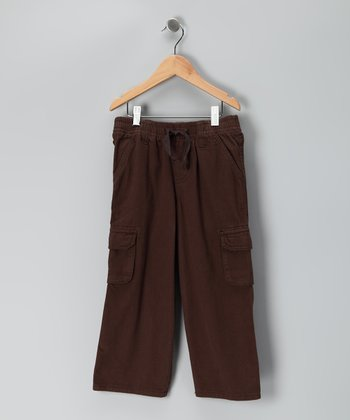 Brown Drawstring Twill Pants - Boys