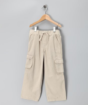Khaki Drawstring Twill Pants - Toddler & Boys