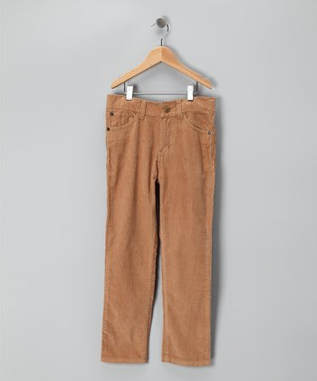 Camel Straight-Leg Corduroy Pants - Boys