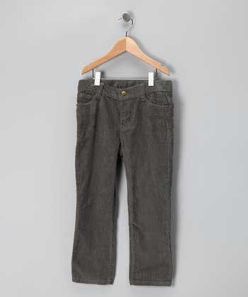Charcoal Straight-Leg Corduroy Pants - Boys