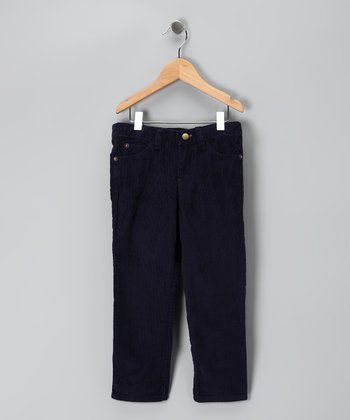 Navy Straight-Leg Corduroy Pants - Boys