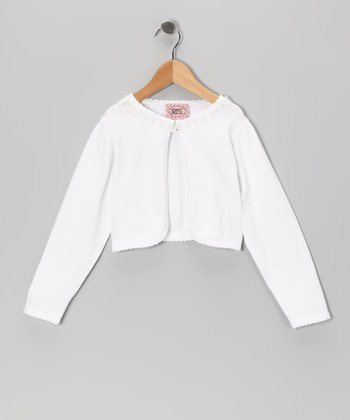 White Knit Cardigan - Girls