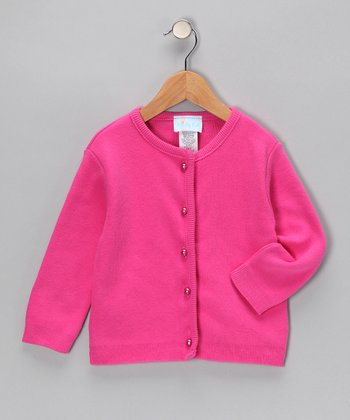 Fuchsia Pearl-Button Cardigan - Infant, Toddler & Girls