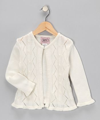 Cream Open Cardigan - Girls