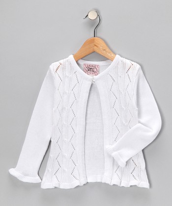 White Open Cardigan - Girls
