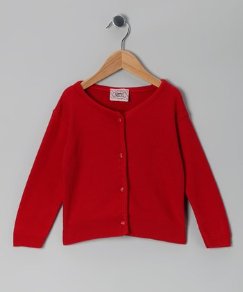 Red Button Cardigan - Girls
