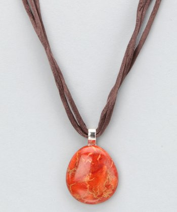 Orange Sponge Coral & Sterling Silver Pendant Necklace