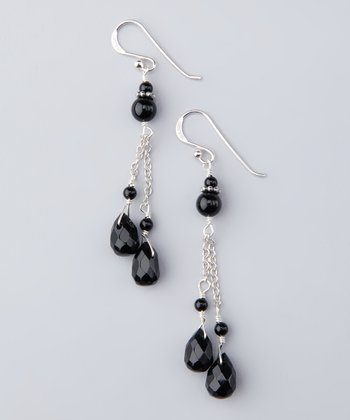 Barse Onyx Teardrop Bead Earrings