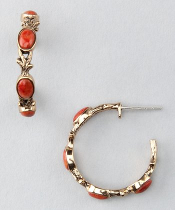 Orange Sponge Coral & Bronze Hoop Earrings