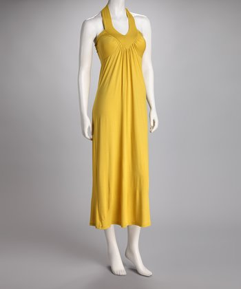 Yellow Ruched Halter Midi Dress