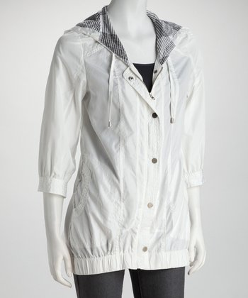 White Three-Quarter Sleeve Hooded Hi-Low Zip-Up Jacket