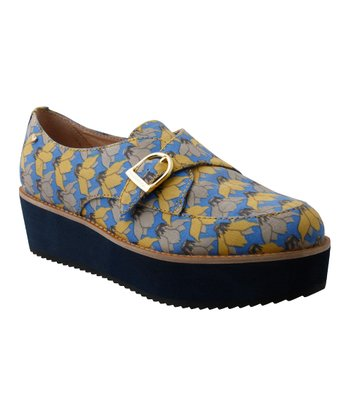 Blue Flower Platform Slip-On Shoe
