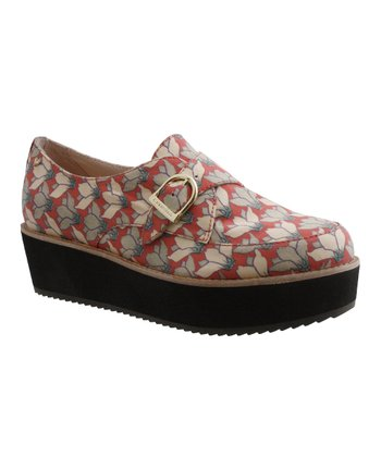 Red Flower Platform Slip-On Shoe