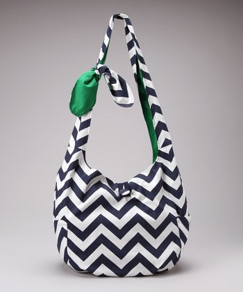Navy & White Zigzag Park Place Reversible Hobo