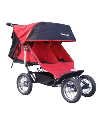 Red Deluxe Suspension Double Jogging Stroller