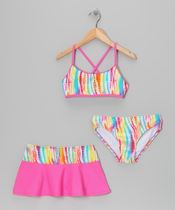 Rainbow Stripe Bikini Set