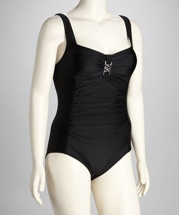 Black Shirred One-Piece