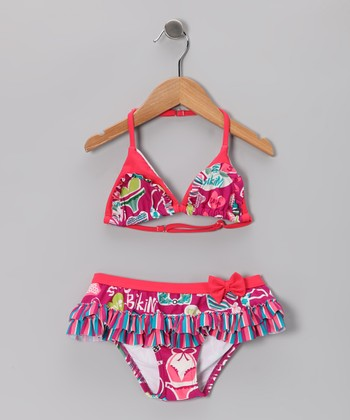 Fuchsia 'Love' Skirted Bikini