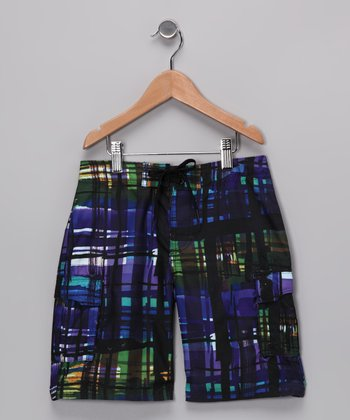 Blue & Green Distressed Plaid Boardshorts - Boys