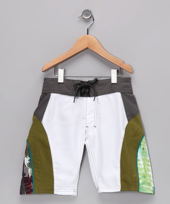 White & Moss Side Panel Boardshorts - Boys
