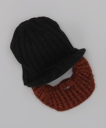 Black Brimmed Beanie & Brown Beard - Kids