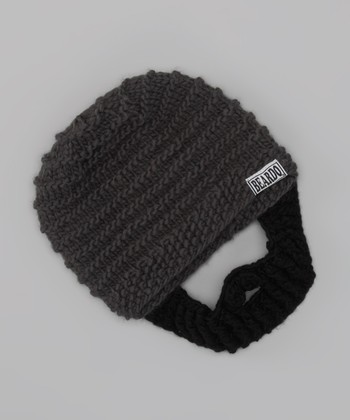 Dark Gray Beanie & Black Beard - Kids