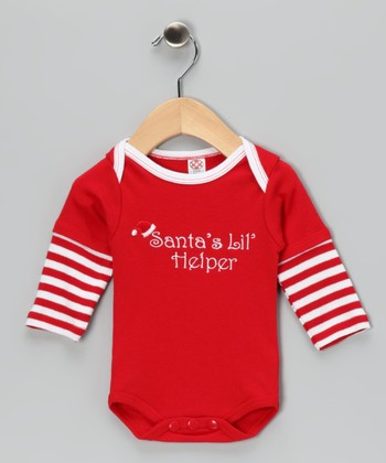 Red 'Santa's Lil' Helper' Layered Bodysuit - Infant