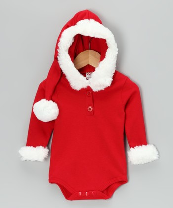 Red Faux Fur Santa Bodysuit - Infant