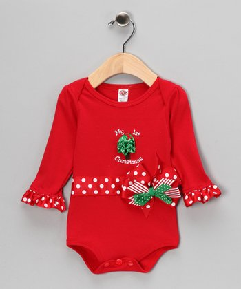Red 'My 1st Christmas' Bow Bodysuit - Infant