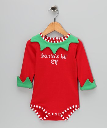 Red 'Santa's Lil' Elf' Bodysuit - Infant