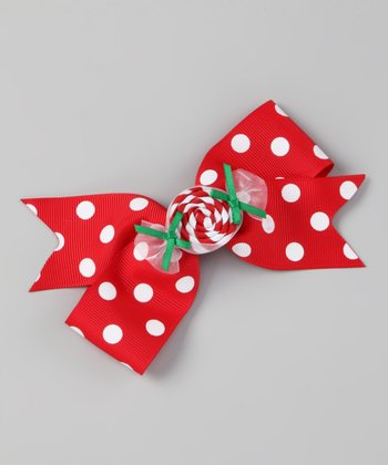 Red Polka Dot Peppermint Candy Bow Clip