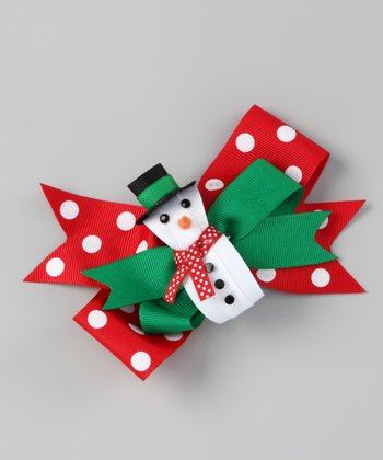 Red Polka Dot Snowman Bow Clip