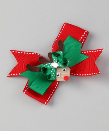 Red Reindeer Bow Clip