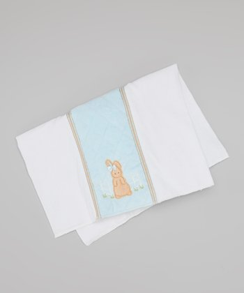Bearington Collection Tan & Blue Bunny Tail Bib