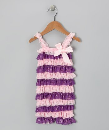 Pink & Purple Lace Ruffle Romper - Infant & Toddler