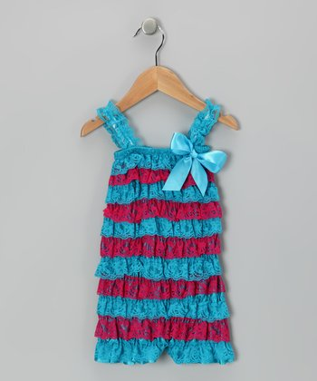 Turquoise & Fuchsia Lace Ruffle Romper - Infant & Toddler