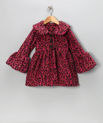 Hot Pink Leopard Faux Fur Coat - Infant & Toddler