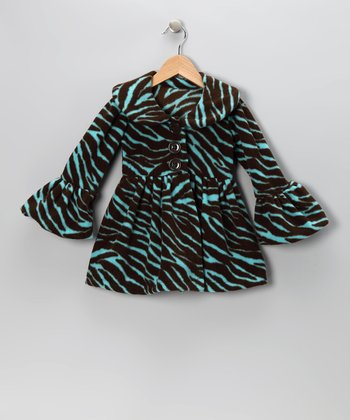 Aqua Zebra Faux Fur Coat - Infant, Toddler & Girls