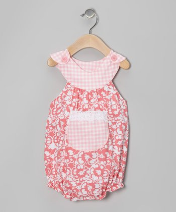 Coral & White Floral Bubble Bodysuit - Infant